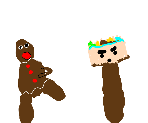 Gingerbread man running from paintbrush