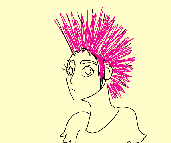 Female with pink Mohawk