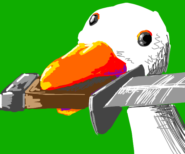 Goose with knife
