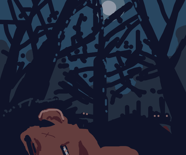 An unconscious man in the woods at night