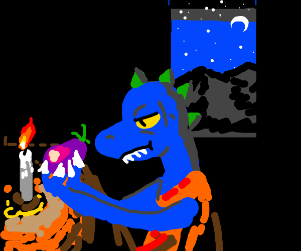 Blue dinosaur monk holds eggplant to candle