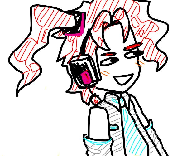 Kakyoin Wearing Hatsune Miku's Clothes
