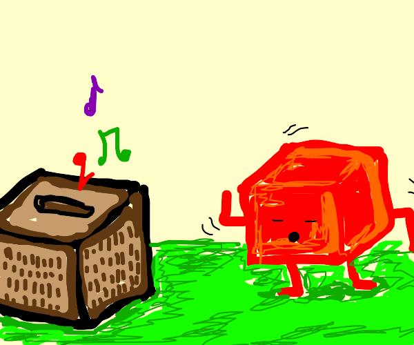 Red square dances to Minecraft noteblock