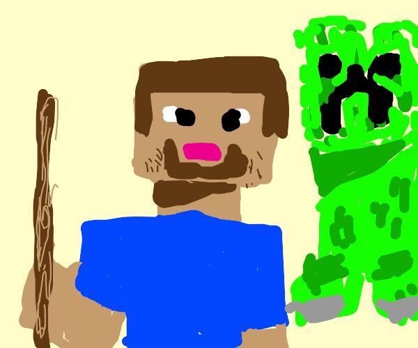 Male Minecraft alex with a stick