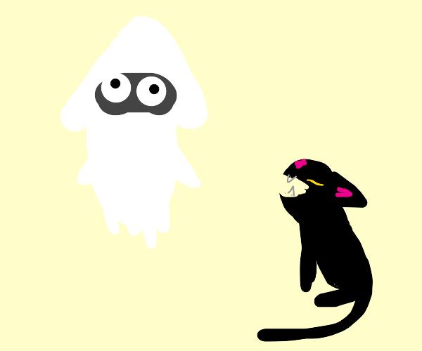 Black cat screaming at a Mario blooper.