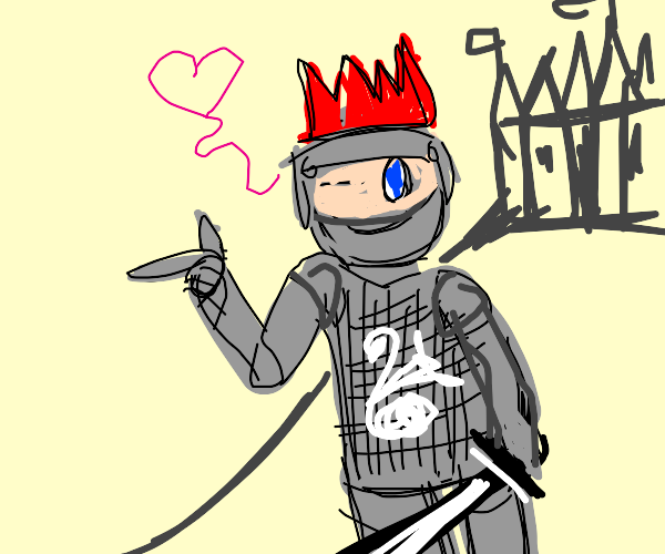 knight with red crown winks at you