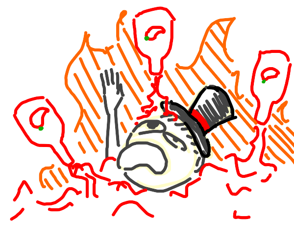 Top-hat man drowning in hot sauce