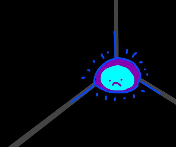 Blue blob sits alone in dark corner
