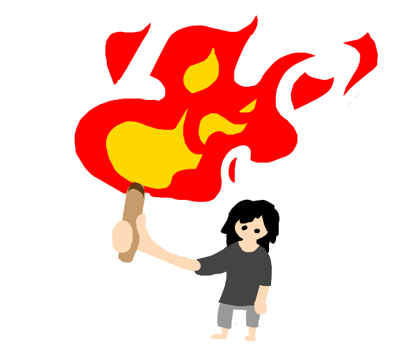 holding a big lit match making a great flame