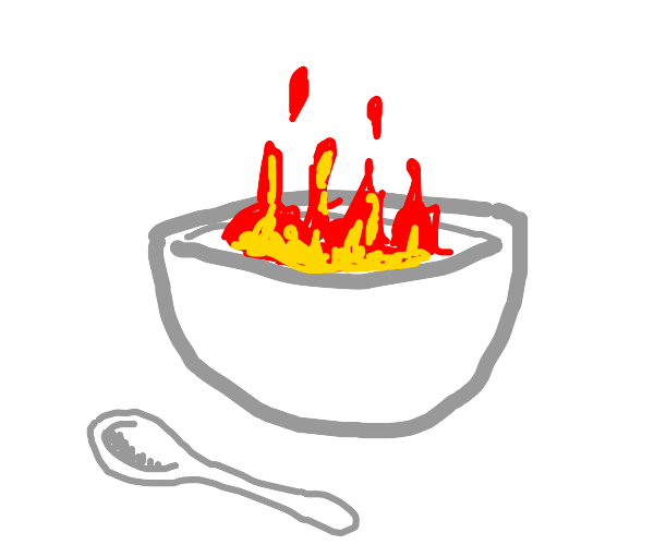 A bowl with hot food and a spoon
