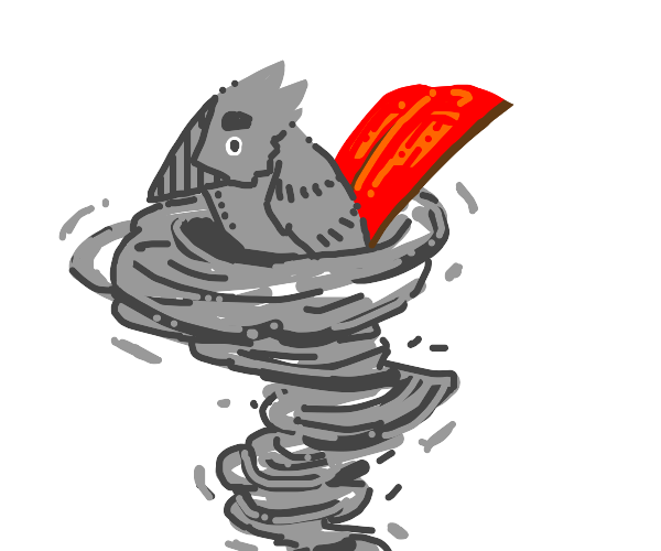 A Gray Creature w/ a Red Tail Rides a Cyclone