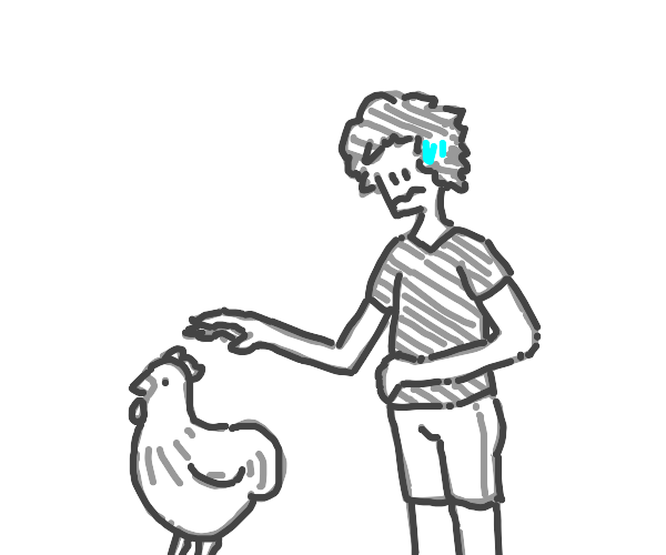 I nervously reach for the chicken