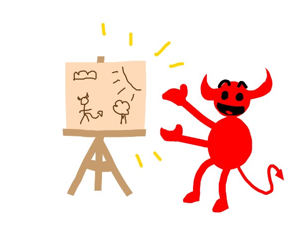 Demon child excited about his art