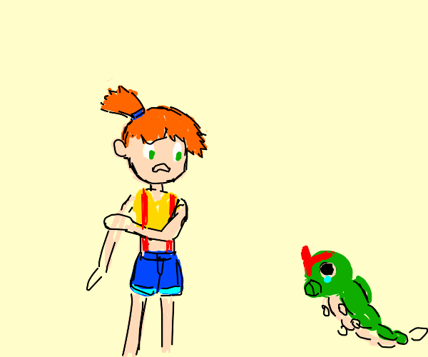 Misty scared of caterpie