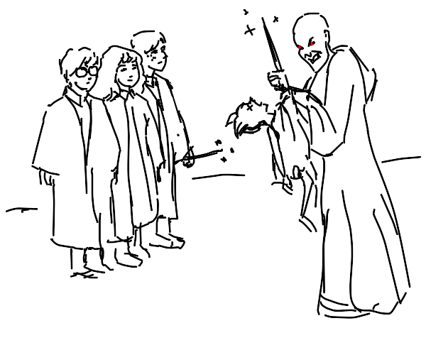 Voldemort killed Dobby while the trio watched