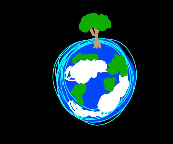 planet earth with a big tree