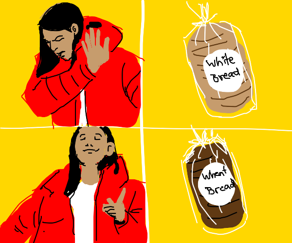 Woman eat brown bread because its healthy
