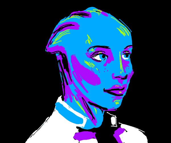 Handsome blue-skinned character in white