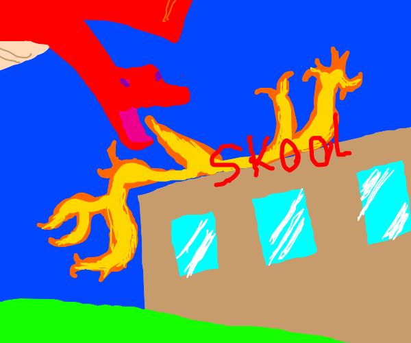 Dragon burns down elementary school