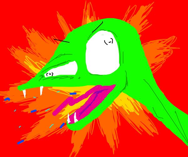 Skinny green dinosaur