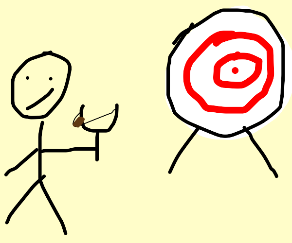 A person shooting a sling shot to a target