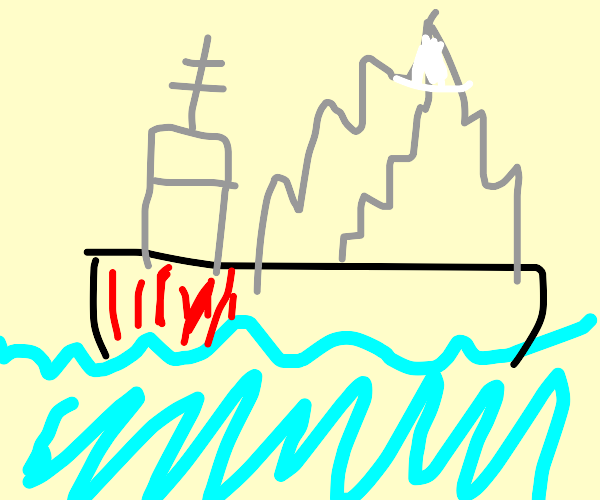 Mountain being shipped across the sea