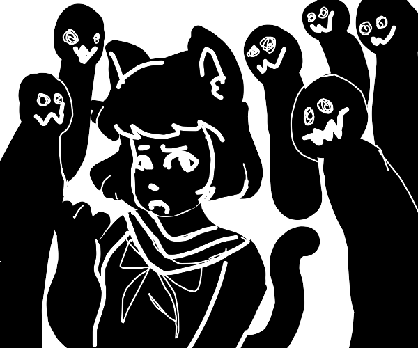 Cat girl with schizophrenia