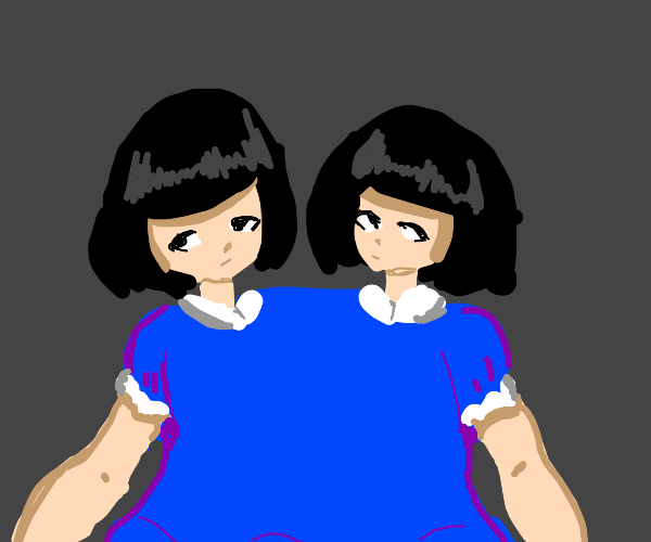 conjoined twin sisters in blue outfit