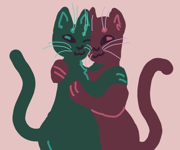humanoid cats hug