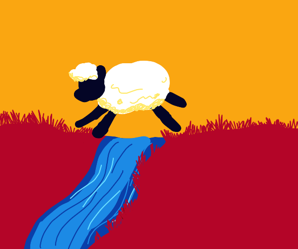 a fluffly sheep jumps across a small river?