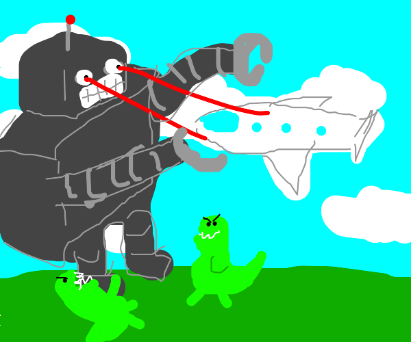 Giant robot fights dinosaurs and airplanes