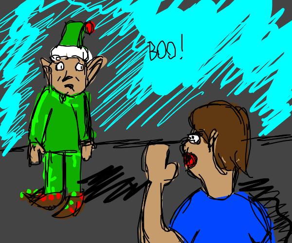 person boos santa's elf