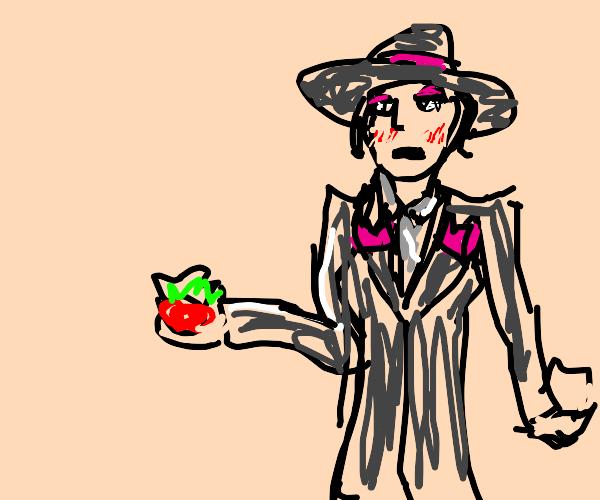 Old fashion lady grumpy with a strawberry