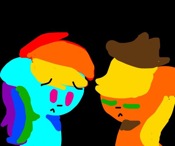 Sad Rainbowdash and Applejack