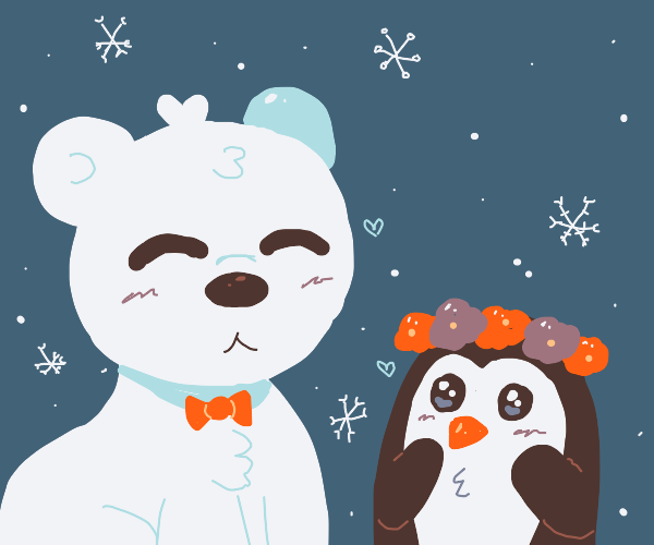 Polar bear and little penguin