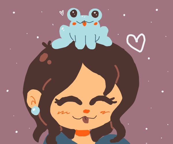 Cute girl with a blue frog on her head