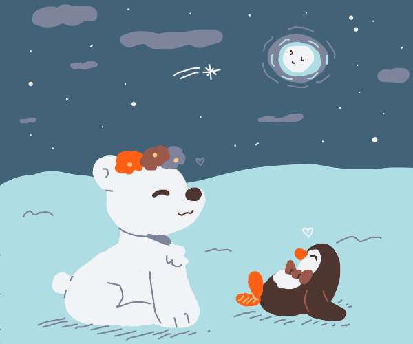 Polar bear and penguin see the moon