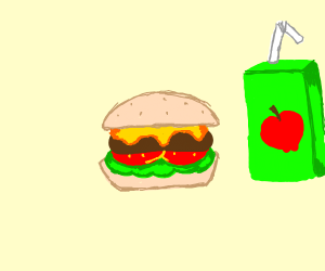 Burger and apple juice
