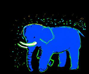 A Blue glowing elephant