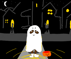 trick or treat in a ghost costume