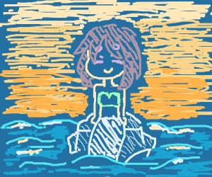 mermaid in sunset