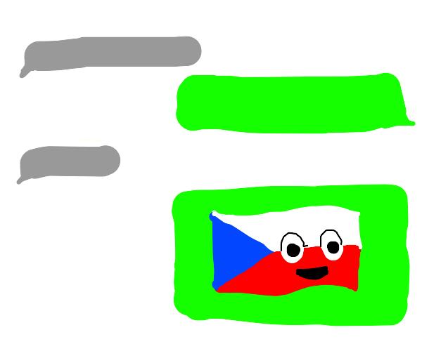 Czech flag emoji personified