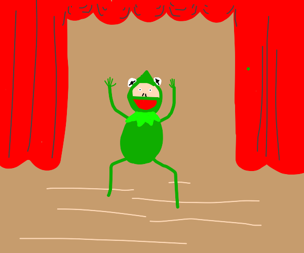 A man in Kermit costume
