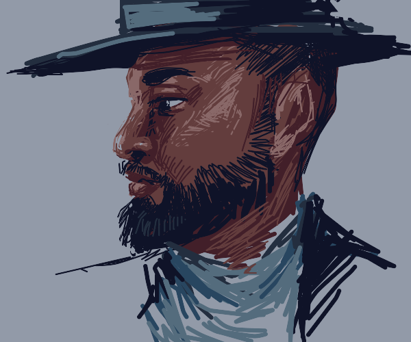 bearded black man with fedora and gray shirt