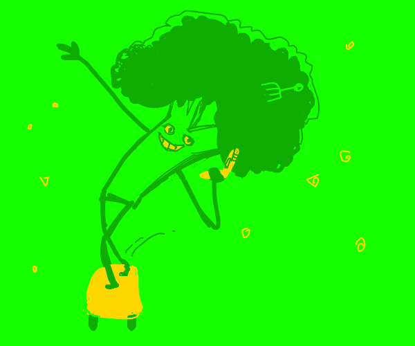 Cool broccoli guy with a flip phone