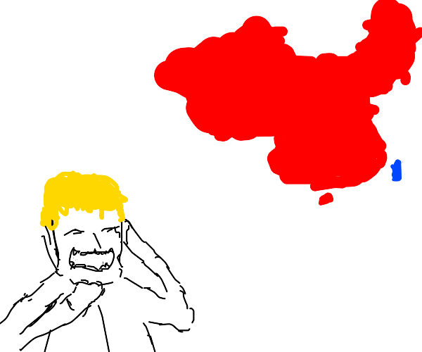 blonde man laughs about china