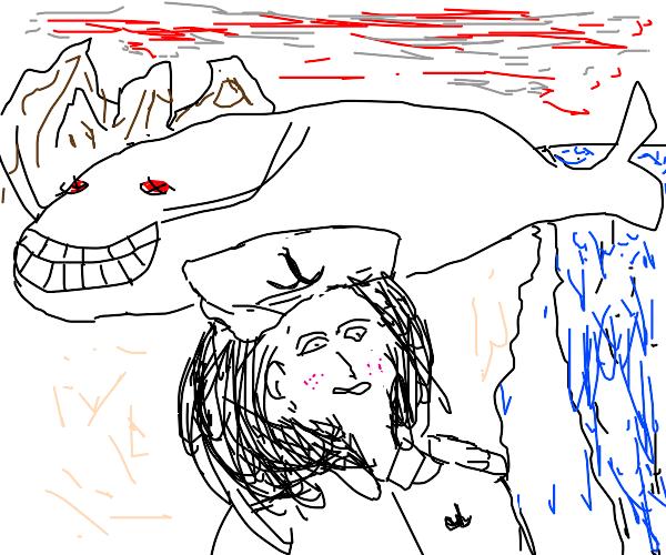 a sailor near a whale