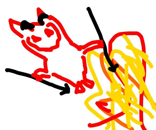 Devil spears pointing at flames