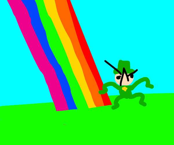 Angry Leprachaun at the end of rainbow