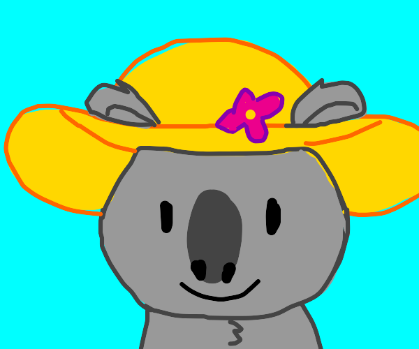 koala with a flower straw hat